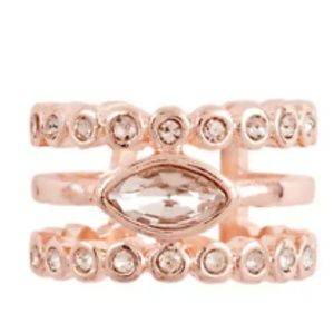 Luv AJ marquise rose diamond disc statement ring